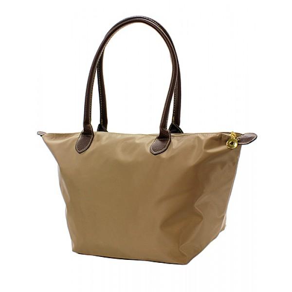 Nylon Medium Shopping Tote w/ Leather Like Handles - Taupe - BG-NL2016TP