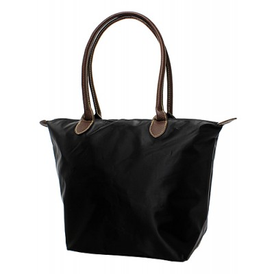Nylon Medium Shopping Tote w/ Leather Like Handles - Black - BG-NL2017BK