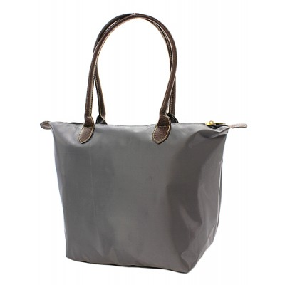 Nylon Medium Shopping Tote w/ Leather Like Handles - Gray - BG-NL2017GY
