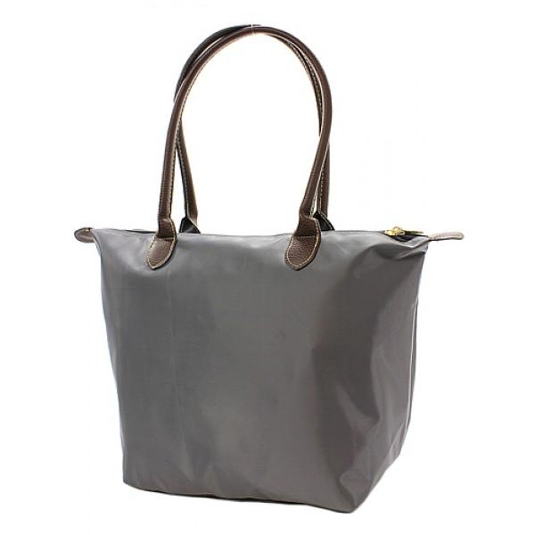 Nylon Medium Shopping Tote w/ Leather Like Handles - Gray - BG-NL2017GY