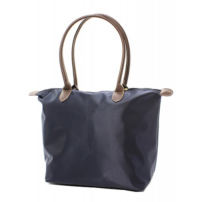Nylon Medium Shopping Tote w/ Leather Like Handles - Navy - BG-NL2017NV