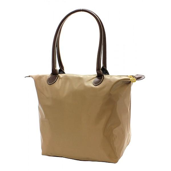 Nylon Medium Shopping Tote w/ Leather Like Handles - Taupe - BG-NL2017TP