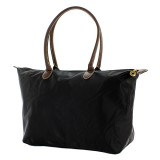Nylon Large Shopping Tote w/ Leather Like Handles - Black - BG-NL2018BK