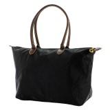 Nylon Large Shopping Tote w/ Leather Like Handles - Black - BG-NL2018BK
