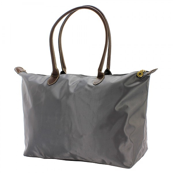 Nylon Large Shopping Tote w/ Leather Like Handles - Gray - BG-NL2018GY