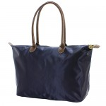 Nylon Large Shopping Tote w/ Leather Like Handles - Navy - BG-NL2018NV