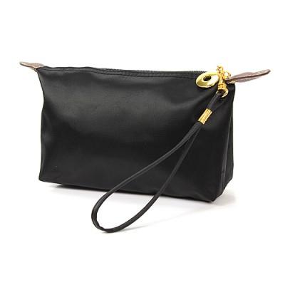 Nylon Cosmetic Purse with Wristlet - Black - CM-NL1015BK