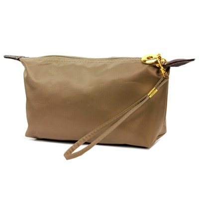 Nylon Cosmetic Purse with Wristlet - Taupe - CM-NL1015TP