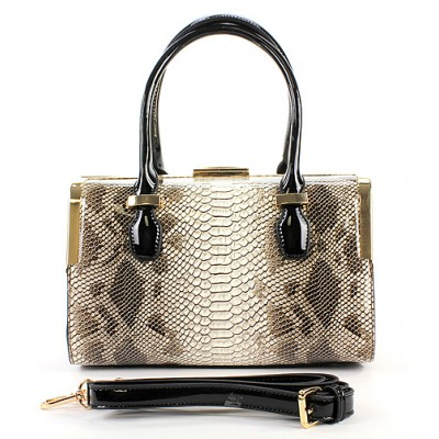 Patent Leather Satchel w/ Metal Frame - Snake Print -BG-C8850BN
