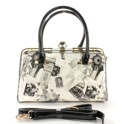 Patent Leather Satchel w/ Rhinestone Accent Metal Frame - Retro Print - BG-C8944BK