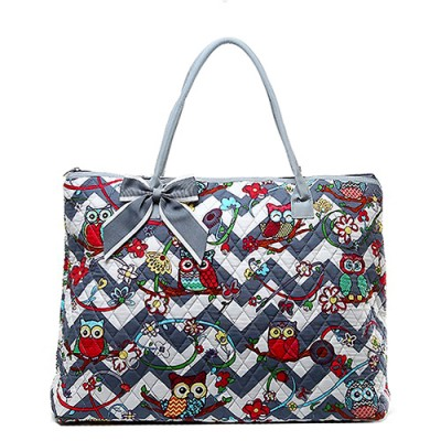 Quilted Cotton Shopping Tote Bag - Owl & Chevron Printed - Grey - BG-OW303GY