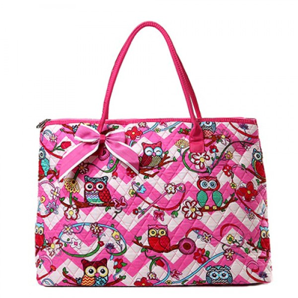 Quilted Cotton Shopping Tote Bag - Owl & Chevron Printed - Pink - BG-OW303PK