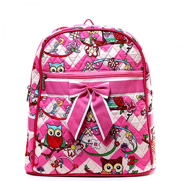 Quilted Cotton Backpack - Owl & Chevron Printed - Pink - BG-OW401PK