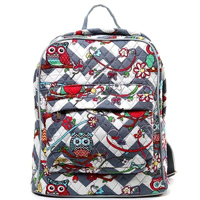 Quilted Cotton Backpack - Owl & Chevron Printed - Grey