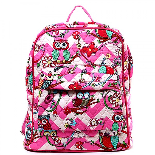 Quilted Cotton Backpack - Owl & Chevron Printed - Pink - BG-OW402PK