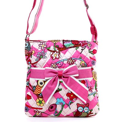Quilted Cotton Messenger Bag - Owl & Chevron Printed - Pink