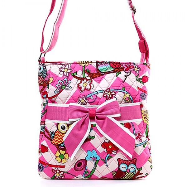 Quilted Cotton Messenger Bag - Owl & Chevron Printed - Pink - BG-OW501PK