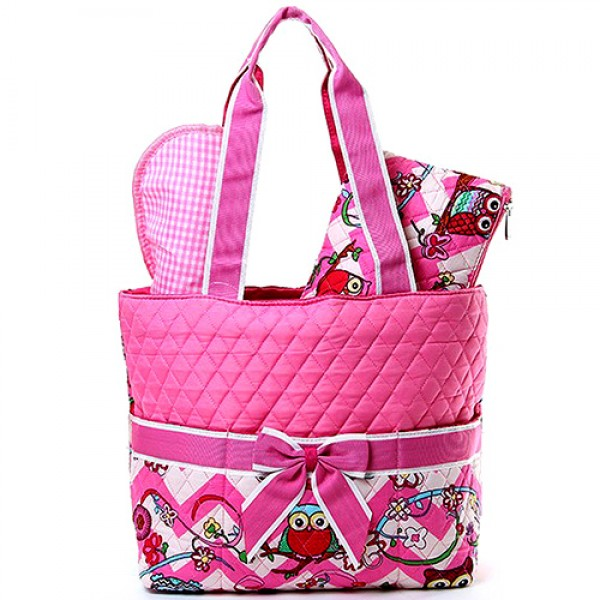 Quilted Cotton Diaper Bag - Owl & Chevron Printed - Pink - BG-OW601PK
