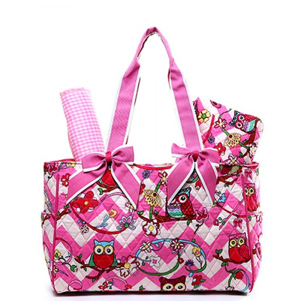 Quilted Cotton Diaper Bag - Owl & Chevron Printed - Pink - BG-OW603PK