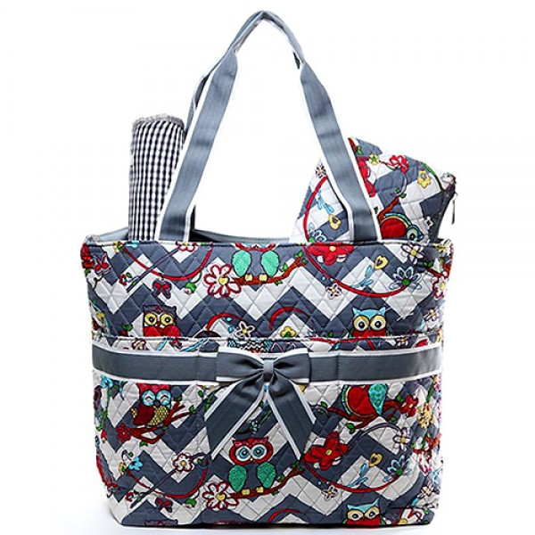 Quilted Cotton Diaper Bag - Owl & Chevron Printed - Grey - BG-OW604GY