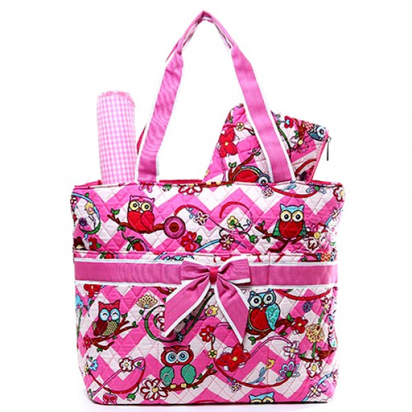 Quilted Cotton Diaper Bag - Owl & Chevron Printed - Pink - BG-OW604PK