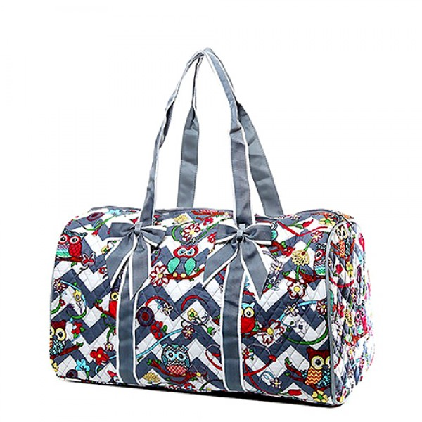 Quilted Cotton Duffel Bags - Owl & Chevron Printed - Grey - BG-OW703GY