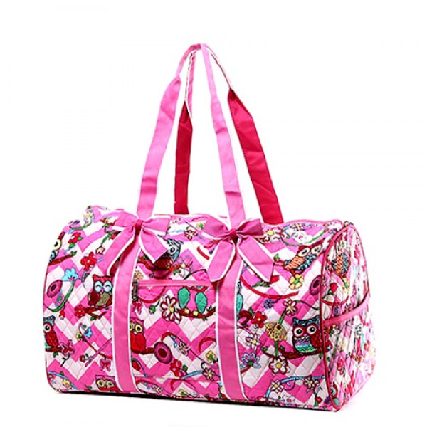 Quilted Cotton Duffel Bags - Owl & Chevron Printed - Pink - BG-OW703PK