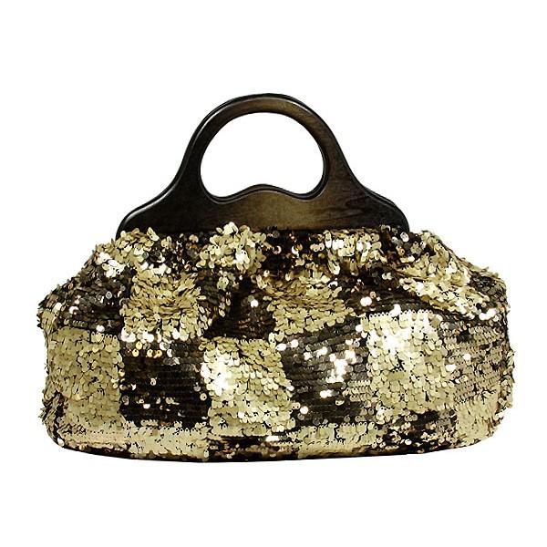 Designer Sequined Satchel Handbags w/ Checker Design - L. Gold - BG-8394LGD