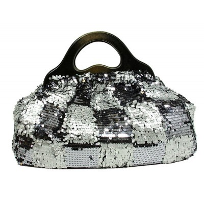 Designer Sequined Satchel Handbags w/ Checker Design - L. Grey - BG-8394LGY