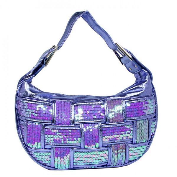 Sequined Bags - Woven Hobo - Purple - BG-91136PL