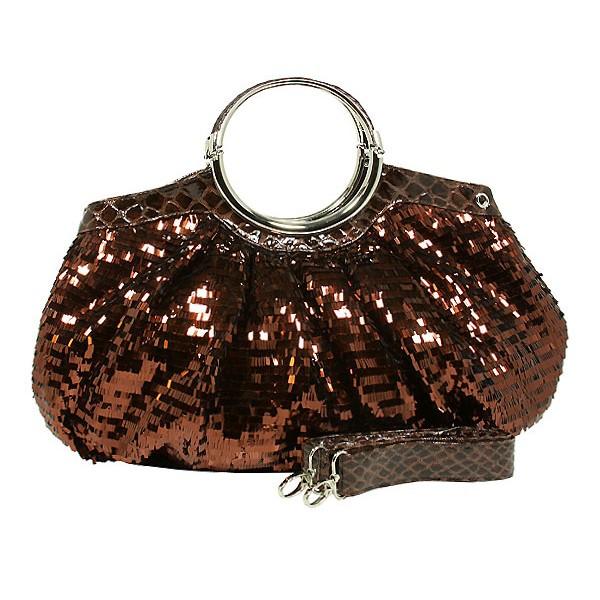 Designer Sequined Satchel Handbags w/ Metal Loop Handle - Coffee - BG-A26COF