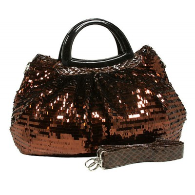 Designer Sequined Satchel Handbags w/ Acrylic Crescent Shape Handle - Coffee - BG-A30COF