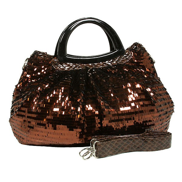 Designer Sequined Satchel Handbags w/ Acrylic Crescent Shape Handle - Coffee - BG-A30COF