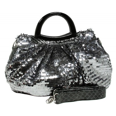 Designer Sequined Satchel Handbags w/ Acrylic Crescent Shape Handle - L. Grey - BG-A30LGY