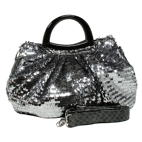 Designer Sequined Satchel Handbags w/ Acrylic Crescent Shape Handle - L. Grey - BG-A30LGY