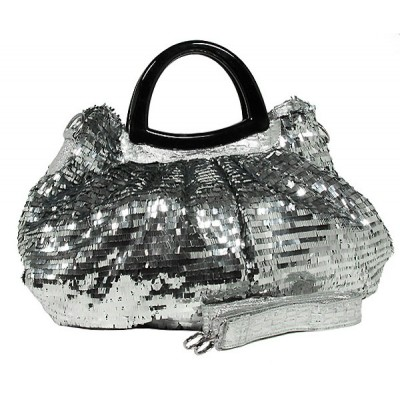Designer Sequined Satchel Handbags w/ Acrylic Crescent Shape Handle - Silver - BG-A30SV