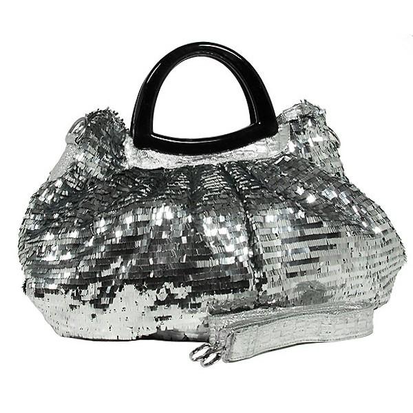Designer Sequined Satchel Handbags w/ Acrylic Crescent Shape Handle - Silver - BG-A30SV