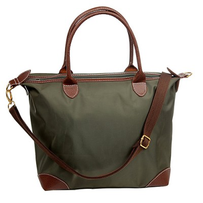 Shopping Tote w/ Detachable Woven Strap - Olive -BG-03-1237