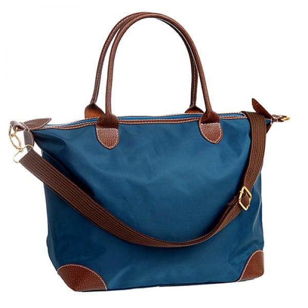 Shopping Tote w/ Detachable Woven Strap - Navy Blue -BG-03-1244
