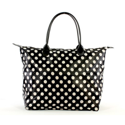 Shopping Tote w/ Polka Dots Print - Black -BG-101319B