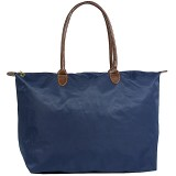 Nylon Large Shopping Tote w/ Leather Like Handles - Navy Blue - BG-HD1293NV