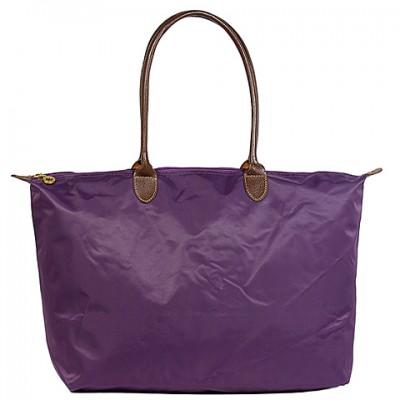 Nylon Large Shopping Tote w/ Leather Like Handles - Purple -BG-HD1293PU