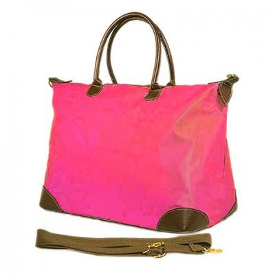 Nylon Large Shopping Tote w/ Nylon Shoulder Strap - Fuchsia - BG-HD1294FU