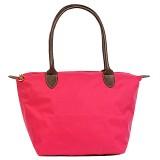 Nylon Small Shopping Tote w/ Leather Like Handles - Fuchsia - BG-HD1361FU