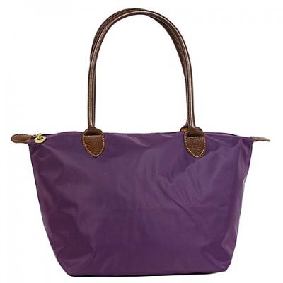 Nylon Small Shopping Tote w/ Leather Like Handles - Purple - BG-HD1361PU