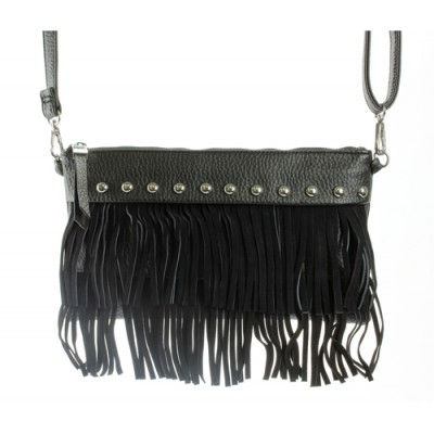 Shoulder/ Clutch Bags - Accent w/ Metal Studs & Fringes - Black - BG-15-725BK