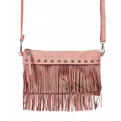 Shoulder/ Clutch Bags - Accent w/ Metal Studs & Fringes - Pink - BG-15-725PK