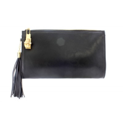 Clutch/ Shoulder Bag - Accent With Tassel - Black - BG-15-733BK