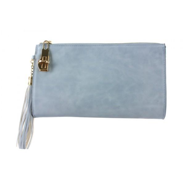 Clutch/ Shoulder Bag - Accent With Tassel - Blue - BG-15-733BL