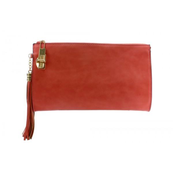 Clutch/ Shoulder Bag - Accent With Tassel - Coral - BG-15-733CO